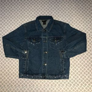Style & Co Embroidered Jean Jacket Size Small Peti